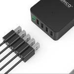 Orico Tischladegerät mit Quick Charge 2.0 mit fünf USB-Ladeanschlüssen - 2,4A pro Port - bis zu 40W - Schwarz