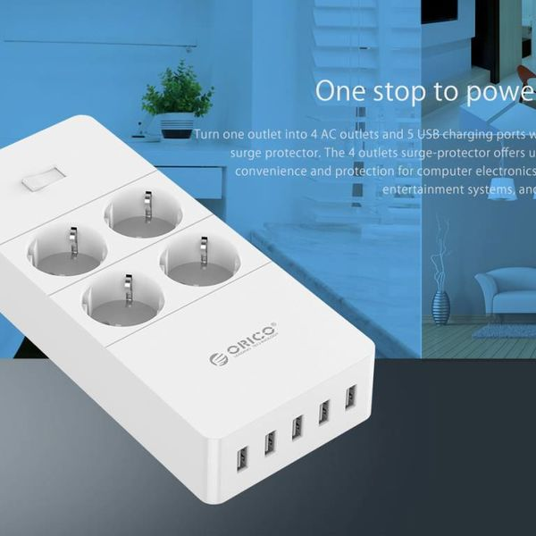 Orico power strip with four sockets and five USB charging ports - 4000W - Incl. on / off switch - white