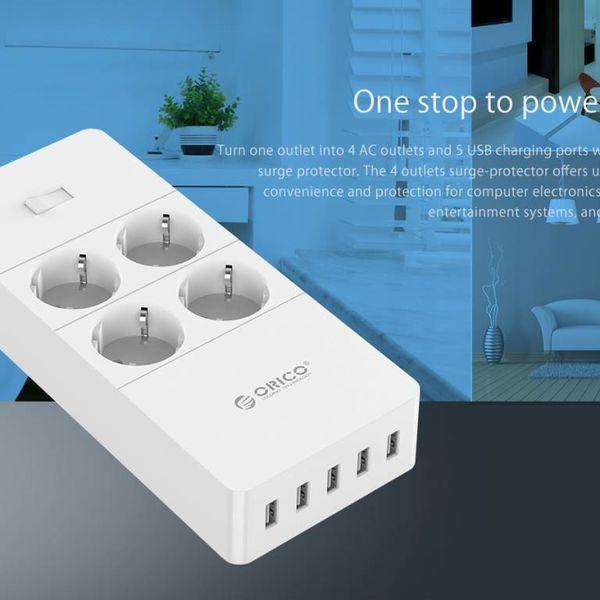 Orico Sockel mit vier Steckdosen und fünf USB-Ladeanschlüssen - 4000W - White