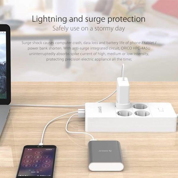 Orico multiprise avec quatre prises et cinq ports de charge USB - 4000W - Incl. interrupteur marche / arrêt - blanc