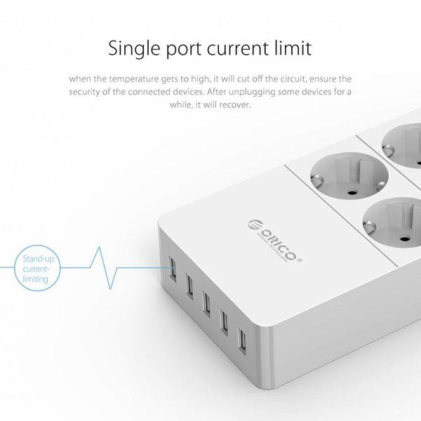Orico Steckdosenleiste mit vier Buchsen und fünf USB-Ladeanschlüssen - 4000W - Inkl. Ein / Aus-Schalter - weiß