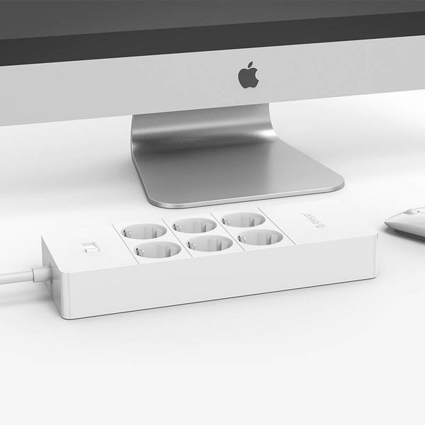 Orico power strip with six outlets and five USB charging ports - 4000W - white