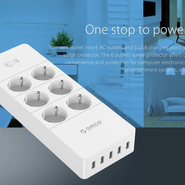 Orico prises de courant avec six et cinq ports de charge USB - 4000W - Blanc