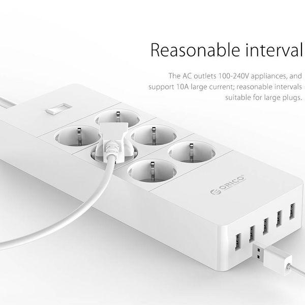 Orico stekkerdoos met zes stopcontacten en vijf USB-laadpoorten - 4000W - Incl. aan/uit schakelaar - wit