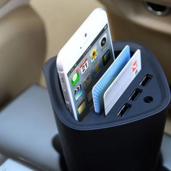 Orico 3 poort USB autolader met pas- en bekerhouder 12V - zwart