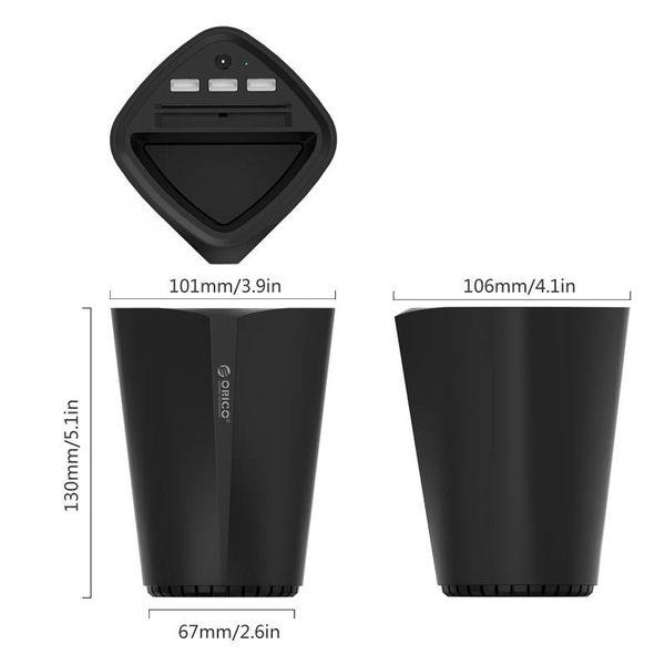 Orico 3 ports chargeur de voiture USB avec ajustement 12V et porte-gobelet - noir