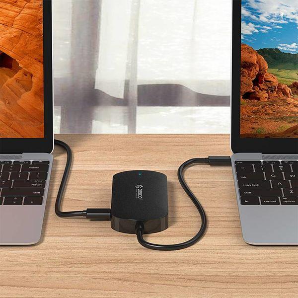 Orico 3-in-1-Typ-C-Hub mit USB 3.0-Typ-A-, Typ-C-PD- und VGA-Anschlüssen - Stromversorgung - IC-Chip - Kabellänge 30 cm - Schwarz