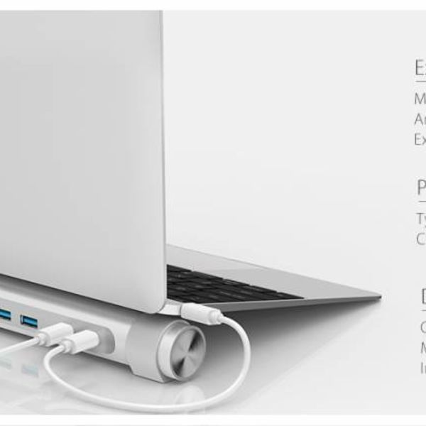Orico USB3.0 type-C hub with seven type-A ports - 1x type-C PD - 5Gbps - laptop stand - silver