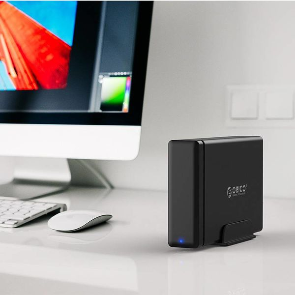 Orico Soft Closing Type-C Hard Drive Enclosure - 3.5 inch SATA HDD / SDD Docking Station - black