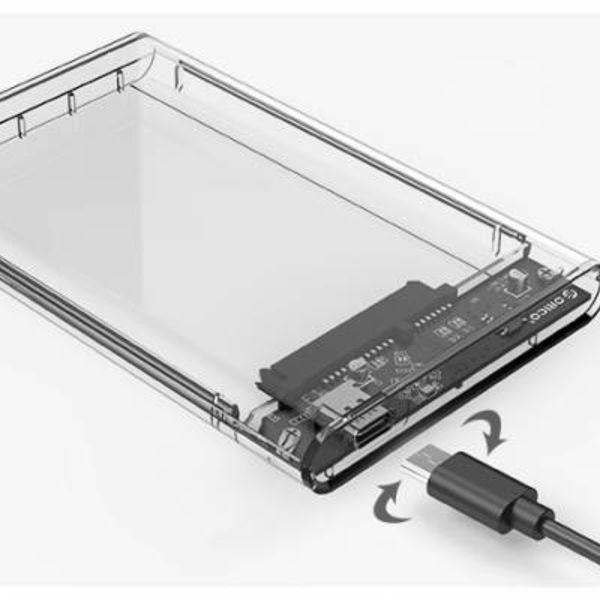 Orico 2,5-Zoll-Festplattengehäuse - Typ C - USB3.0 - SATA III - 5 Gbit / s - UASP - ABS - Transparent