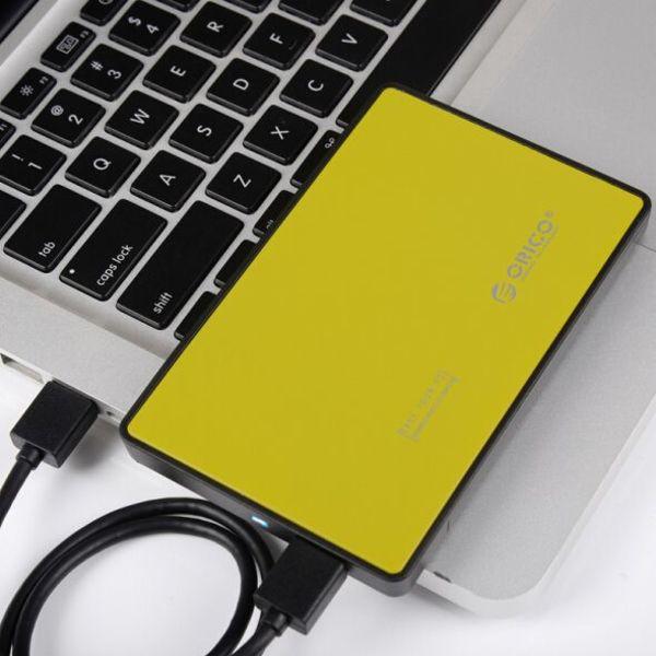 Orico Festplattengehäuse 2,5 Zoll - HDD / SSD - USB3.0 - aus Metall und Kunststoff - Gelb