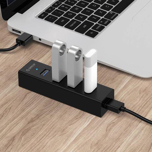 Orico Hub USB3.0 noir mat avec 4 ports de type A - pour Windows, Linux et Mac OS - 5 Gbit / s - Puce VIA