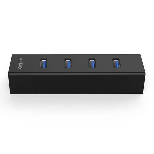 Orico Matte Black USB3.0 Hub with 4 Type-A Ports - for Window, Linux and Mac OS - 5Gbps - VIA Chip