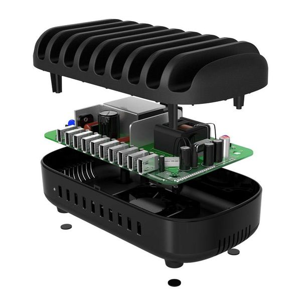 Orico Multi Charger Docking Station with 10 ports - Charging Station for Tablets and / or Smartphones - 120W - 2.4A / 5V per port - Black