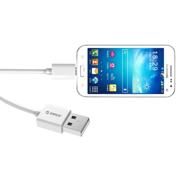 Orico 2 Meter Extra Lange Oplaadkabel – 3 Ampère - Fast Charge – Dataoverdracht – Micro USB - Wit