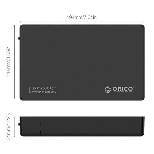 Orico 3.5 inch Hard Drive Enclosure - Type-C connection - SATA III - USB3.0 - 5Gbps - HDD / SSD - incl. Type-C to Type-A data cable - Incl. Power adapter - Matt Black