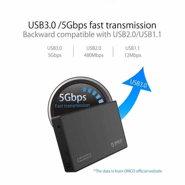 Orico 3,5-Zoll-Festplattengehäuse - Typ-C-Anschluss - SATA III - USB3.0 - 5 Gbit / s - Festplatte / SSD - inkl. Datenkabel Typ C bis Typ A - Inkl. Netzteil - Matt Black