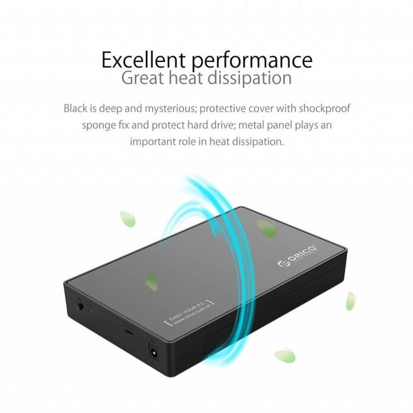 Orico 3.5 inch Hard Disk Enclosure - Type-C connection - SATA III - USB3.0 - 5Gbps - HDD / SSD - incl. Type-C to Type-A data cable - Incl. Power Adapter - Matt Black