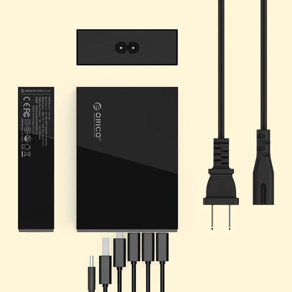 Orico Moderne Desktop-Ladegerät mit Quick Charge 2.0 - 5-fach-Typ-A-USB-Ladeanschlüssen -x 1 Typ-C USB-Ladeanschluss - Intelligent Chip - 50W - Schwarz