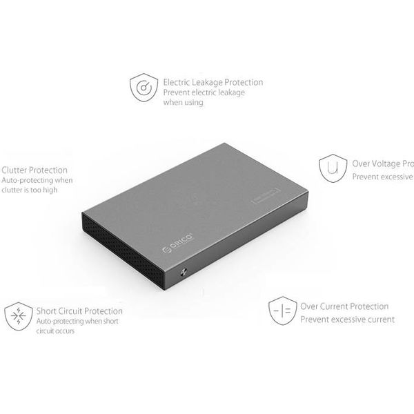 Orico Aluminum 2.5 inch Hard Drive Enclosure - HHD / SSD - USB3.0 - 5Gbps - SATA III - VIA chip - Incl. Screws & Screwdriver - Dark gray