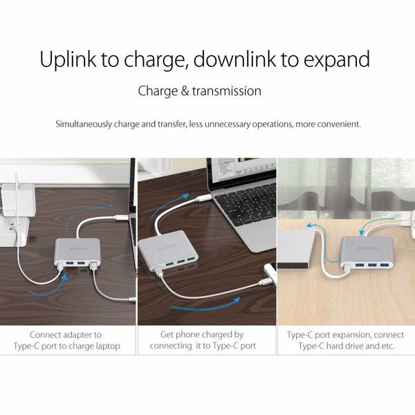 Orico Aluminium Typ-C-Hub mit Power Delivery - 3 x USB 3.0 Typ A - Mac Style - 5 Gbps - 15 cm Kabel - Silber