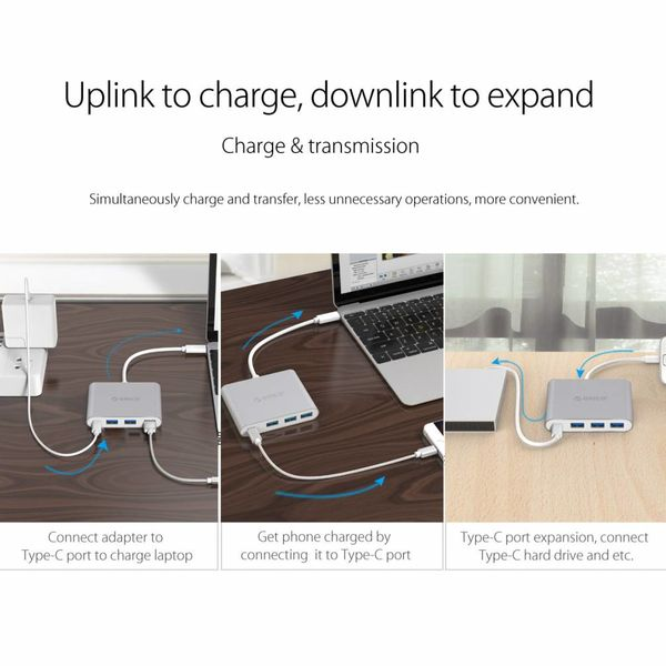 Orico Aluminium Typ C Hub mit Stromversorgung - 3 x USB3.0 Typ A - Mac Style - 5 Gbit / s - 15 CM Kabel - Silber