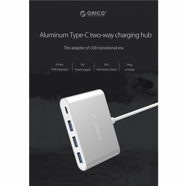 Orico Aluminium type-C Hub met Power Delivery - 3 x USB3.0 Type-A - Mac Style - 5Gbps - 15 CM Kabel - Zilver