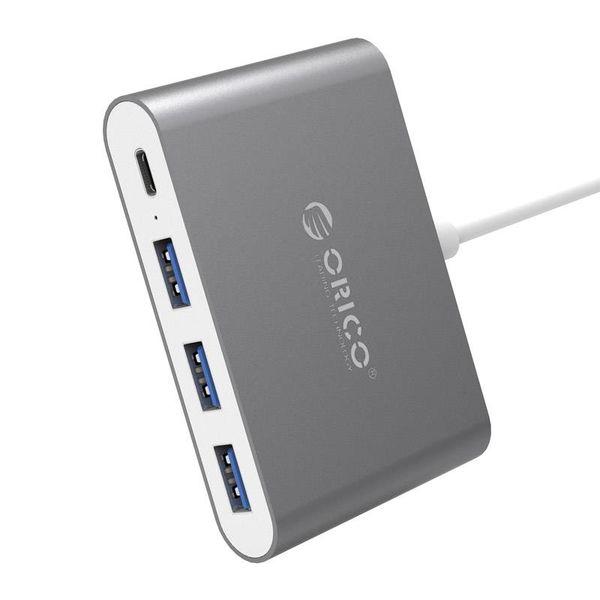 Orico Type C Aluminium Hub avec Power Delivery - 3 x USB3.0 type A - 5 Gbps - 15 CM Câble - Gris foncé