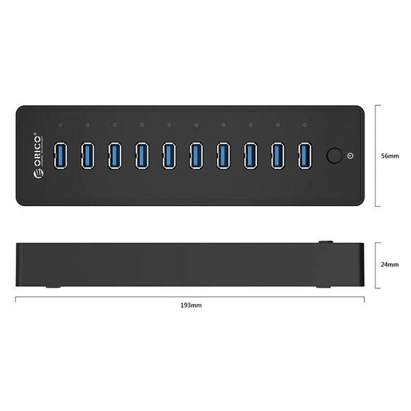 Orico USB3.0 Hub met 10 Type-A poorten - 5Gbps - Incl. Datakabel & Stroomadapter - aan/uit schakelaar - 30W - Zwart
