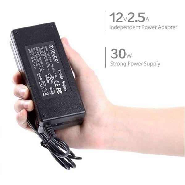 Orico USB 3.0 Hub 10 Typ-A Gates - BC1.2 - 5 Gbps - Incl. Daten-Kabel & Adapter - Ein- / Ausschalter - 30W - Schwarz