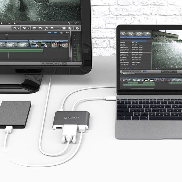 Orico Aluminium-Hub von Typ C bis HDMI, VGA, USB 3.0 USB-Typ-A und Typ-C - Power Delivery - 5 Gbps - 15CM Kabel - Grau