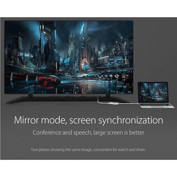 Orico Aluminium Type C Adaptateur HDMI - 4K Ultra HD - pour MacBook Air Mi NoteBook, Huawei Maté Facebook et Lenovo YOGA - Mac Style - 15CM Câble - Argent