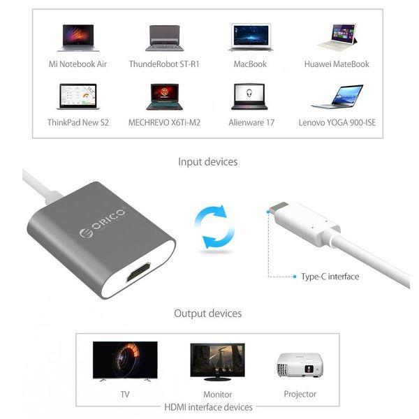 Orico Aluminium Typ C zu HDMI Adapter - 4K Ultra HD - für MacBook, Mi NoteBook Air, Huawei MateBook und Lenovo YOGA - Mac Style - 15CM Kabel - Grau