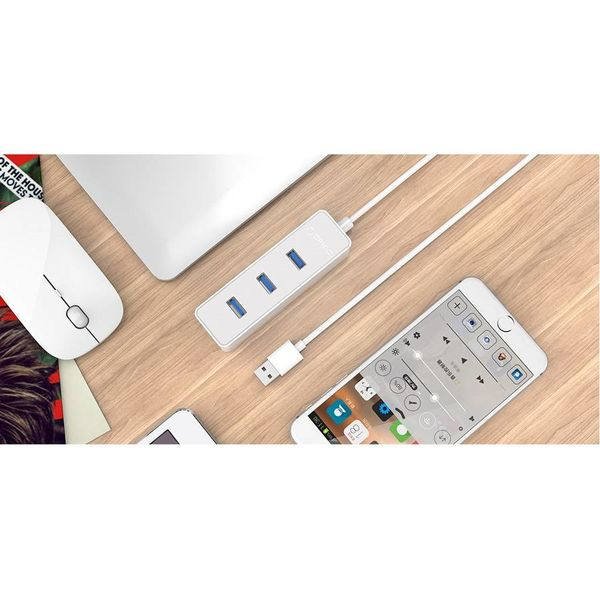 Orico USB3.0 hub with 4 type-A ports - 5Gbps - 30CM USB3.0 Data cable - for Windows, Linux and Mac OS - White