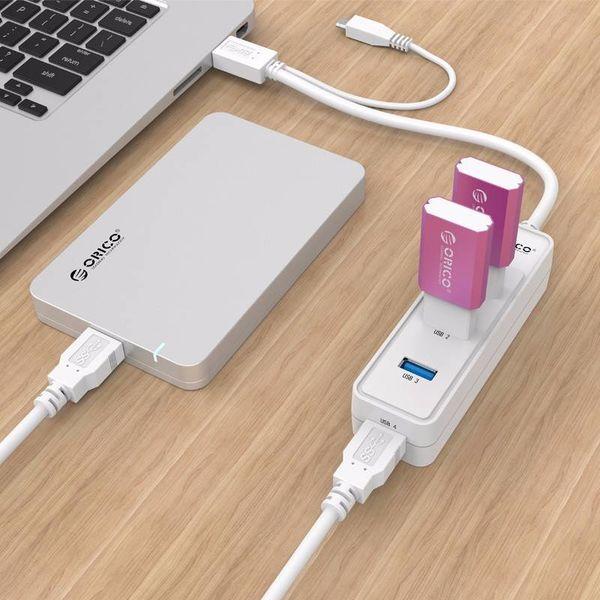 Orico hub USB 3.0 à quatre ports de type A - 5 Gbps - 30CM USB3.0 Câble de données - pour Windows, Linux et Mac OS - Blanc