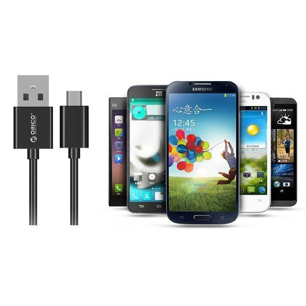 Orico 2 mètres Extra Long câble de charge - 3 Amp - Charge rapide - Transfert de données - Micro USB - Noir