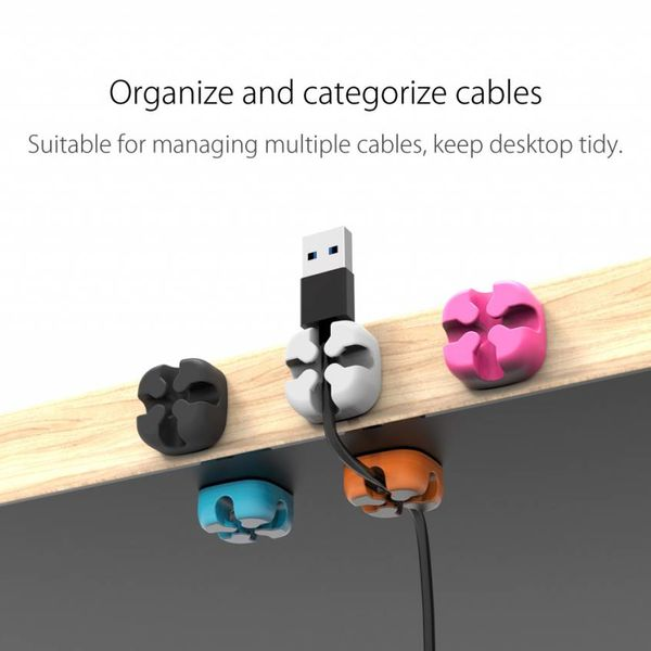 Orico Five multifunctional cable clips in various colors - 3M cables up to 5mm thick - cable management