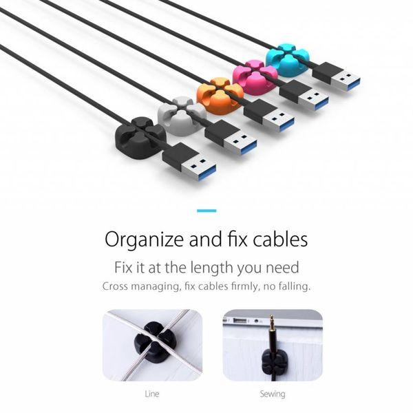 Orico Cinq clips de câbles à usages multiples en différentes couleurs - 3M - câbles jusqu'à 5 mm d'épaisseur - Gestion des câbles