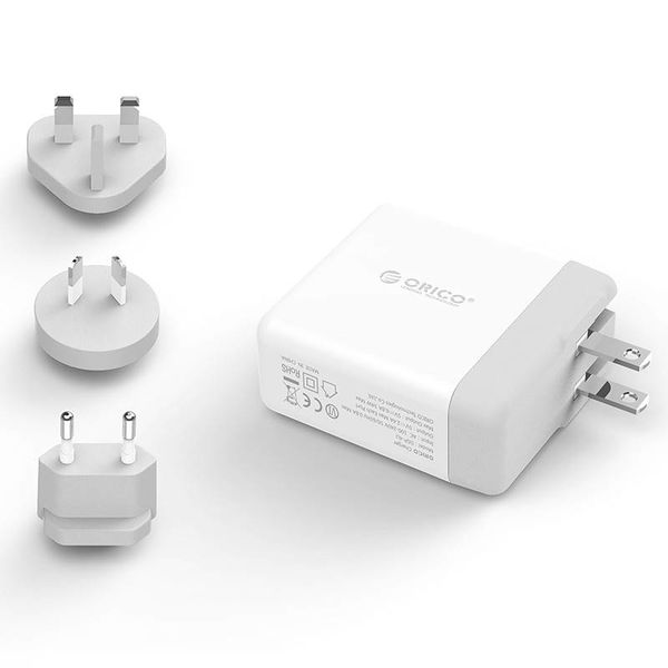 Orico World Travel Charger with 4x USB3.0 Ports - Incl. EU / UK / AUS connectors - 34W - White