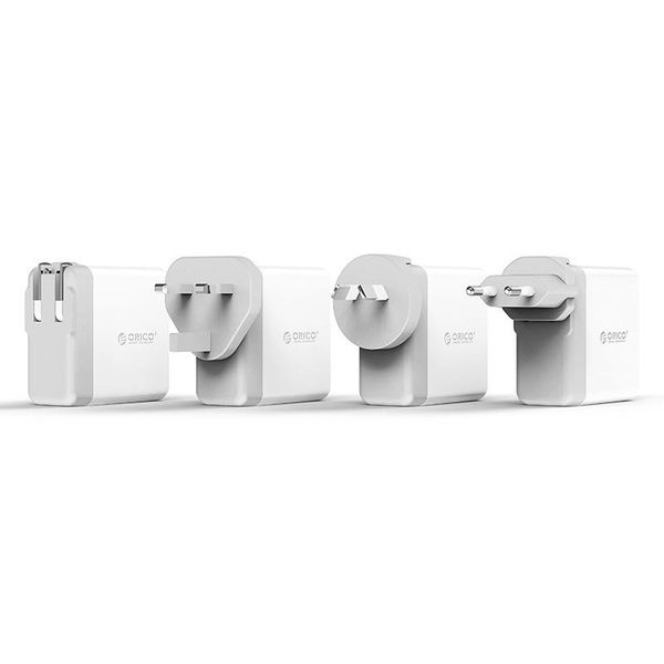 Orico Chargeur monde Voyage avec 4x ports USB 3.0 - Incl. EU / UK / AUS embouts de connecteur - 34W - Blanc