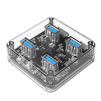 Orico Transparent-Hub mit vier USB-3.0-Ports - 5 Gbps - Spezieller LED-Anzeige