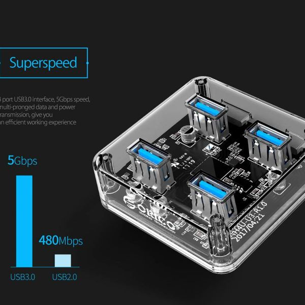 Orico Hub transparent avec 4 ports de type USB 3.0 A - 5 Gbps - Indicateur LED spécial - Câble de données 1 M