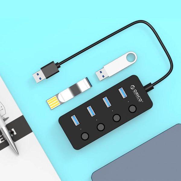 Orico USB3.0 hub met 4 type-A poorten – 4x aan/uit schakelaars – 4 LED-indicatoren - 5Gbps – 30CM USB3.0 Datakabel – voor Windows, Linux en Mac OS – Zwart