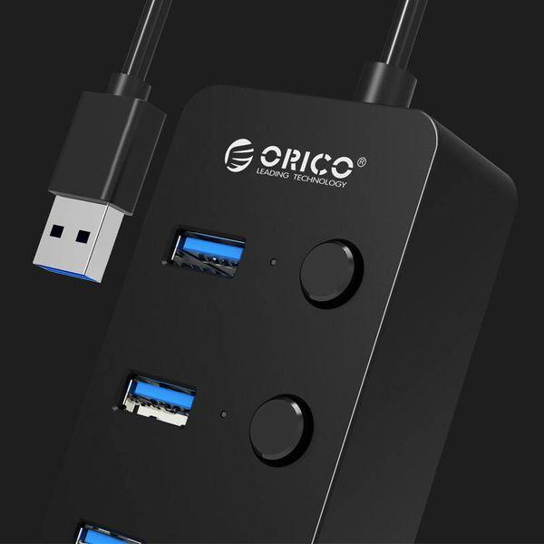 Orico USB3.0-Hub mit 4 Typ-A-Anschlüssen - 4x Ein / Aus-Schalter - 4 LED-Anzeigen - 5 Gbit / s - 30CM USB3.0-Datenkabel - für Windows, Linux und Mac OS - Schwarz