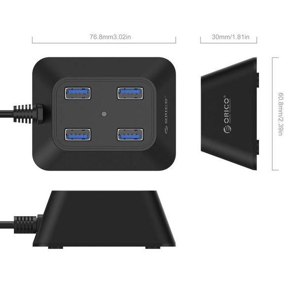 Orico Compact USB 3.0 Hub mit vier Typ-A-Ports - 5 Gbps - 100CM USB3.0-Datenkabel - VIA-Chip - für Windows, Linux und Mac OS - schwarz