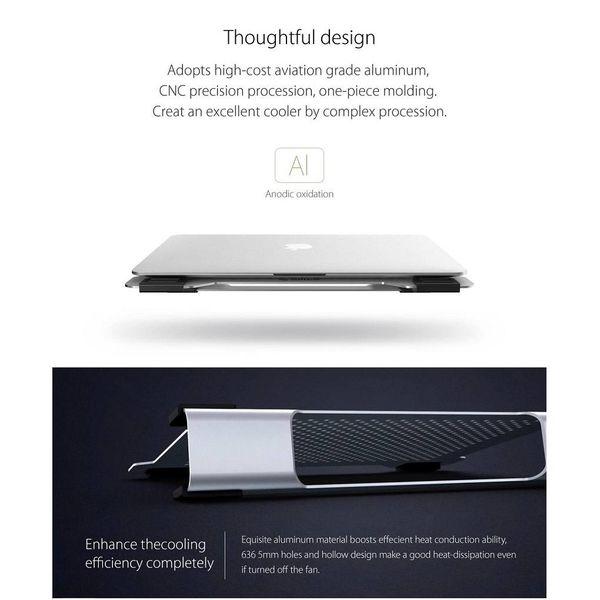 Orico Multifonction en aluminium Support pour ordinateur portable / Cooling Pad - conduction de la chaleur, de gestion des câbles et de la posture ergonomique - pour les ordinateurs portables jusqu'à 15 pouces - Mac Style - Argent