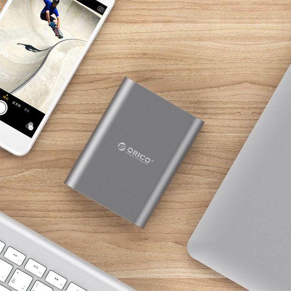 Orico Aluminum Power Bank 10400mAh - Quick Charge 2.0 - LED Indicator - Intelligent Chip - 36W - Sky Gray