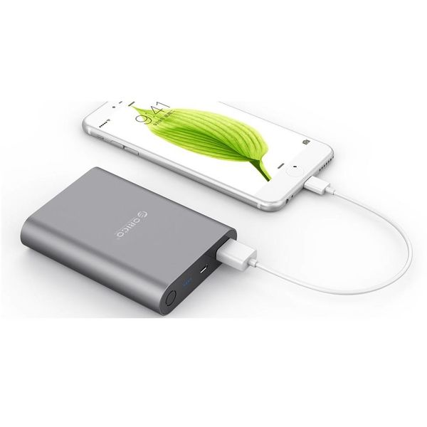 Orico Aluminium-Energien-Bank 10400mAh - Quick Charge 2.0 - LED-Anzeige - Intelligente Chip - 36W - grauer Himmel