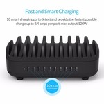 Orico Multi Charger Station d'accueil avec 10 ports - Station de recharge pour les tablettes et / ou Smartphones - 120W - 2.4A / 5 V par port - Noir