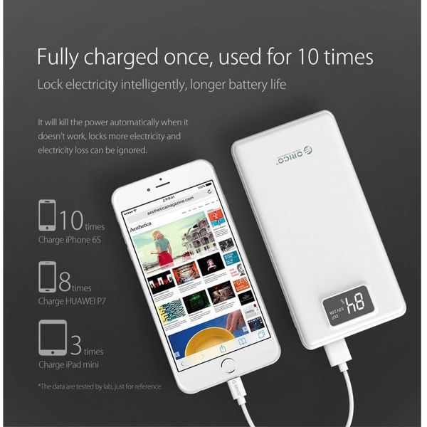 20 000mAh Powerbank with 3x Smart Charge USB outputs - LiPo Battery - Incl   LED Screen - White